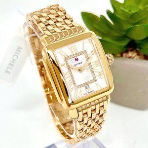 NWT MICHELE Deco Madison Mid Gold & Diamond Watch